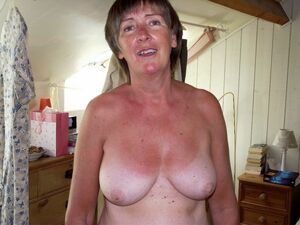 topless mature woman